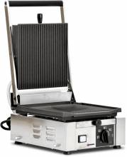 "Elite Series Panini Grill with Grooved Top and Bottom - 10"" x 9"" 