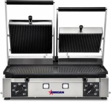 "Elite Series Panini Grill with Grooved Top and Bottom - 10"" x 19"" 
