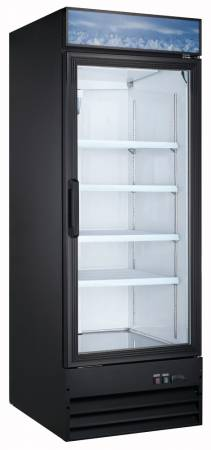 "Zanduco 28"" Single Door Glass Cooler - Black 23 cu. ft. 