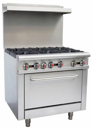 "Zanduco 36"" Commercial Range Oven 6 Burners - Natural Gas 