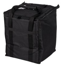 "Choice Insulated Food Delivery Bag, Black Nylon, 13"" x 13"" x 15 1/2"" - Holds (6) 2 1/2"" Deep 1/2 Size Pans or (18) 2 Qt. Container 