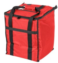 "Choice Insulated Food Delivery Bag, Red Nylon, 13"" x 13"" x 15 1/2"" - Holds (6) 2 1/2"" Deep 1/2 Size Pans or (18) 2 Qt. Container 