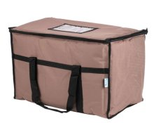 "Choice Insulated Food Delivery Bag / Pan Carrier, Brown Nylon, 23"" x 13"" x 15"" 
