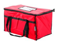 "Choice Insulated Food Delivery Bag / Pan Carrier, Red Nylon, 23"" x 13"" x 15"" 
