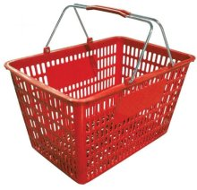 "18.75"" X 11.5"" Plastic Grocery Market Shopping Basket - Red 