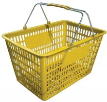 "18.75"" X 11.5"" Plastic Grocery Market Shopping Basket - Yellow 