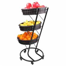 Zanduco 3-Tier Black Display Stand with 5 Wheels | Bar Service & Tablewares | Zanduco CA