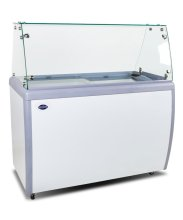 "60"" Ice Cream Dipping Cabinet / Freezer with Flat Sneeze Guard and 370 L Capacity 
