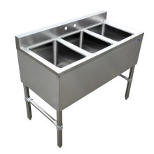 "3 Compartment Underbar Sink 10"" X 14"" X 10"" with No Drain Board 