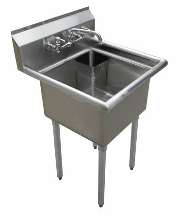 "Zanduco 18"" X 18"" X 11"" One Tub Sink with 1.8"" Corner Drain and No Drain Board 