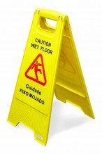 A-Shape Wet Floor Caution Sign - English/Spanish Yellow | Janitorial Supplies  | Zanduco US