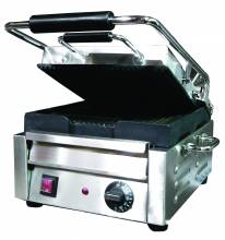 "1800-Watt Single Panini Grill with Ribbed Top and Bottom - 10"" x 11"" 