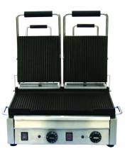 "3200-Watt Double Panini Grill with Ribbed Top and Bottom -10"" x 18"" 