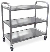 "Stainless Steel Bussing Cart - 31.5"" x 17.6"" 