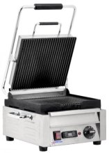 "Omcan 10"" Panini Grill Small Ribbed with Timer 