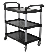 "Plastic Bussing Cart Black - Tray Size 19.5"" x 31"" 