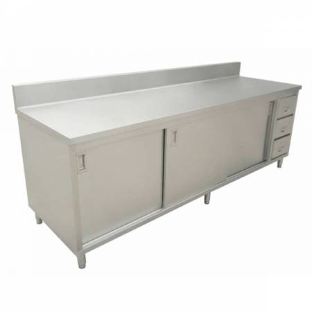 24″ x 72″ Worktable with Backsplash, Cabinet, Drawers, and Sliding Doors | Kitchen Equipment | Zanduco US