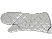 "17"" Silver Coated Heat Resistant Oven Mitts  
