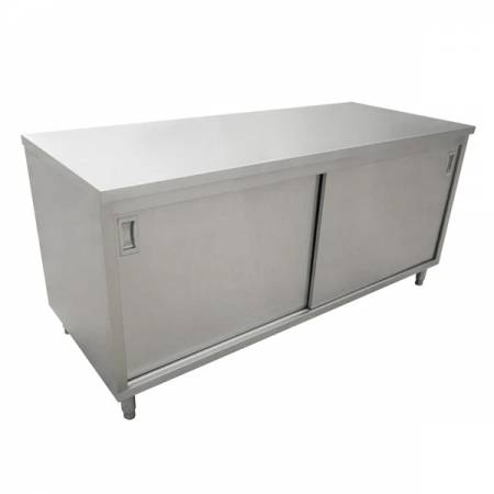 "24"" x 72"" Worktable with Cabinets and Sliding Doors 