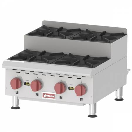 Countertop Stainless Steel Step Up Gas Hot Plates with 4 Burners | Countertop Gas Hot Plates | Zanduco US