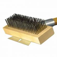 "30"" Versatile Oven & Grill Brush - Heavy-Duty Horizontal Scraper - Round Stainless Steel 