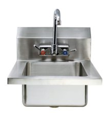 "Zanduco Fabricated Wall Mounted Hand Sink with 4"" Faucet & Drainbasket 