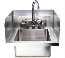 "Zanduco Fabricated Wall Mounted Hand Sink with Sides Splash, 4"" Faucet & Drainbasket 