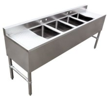 "4 Compartment Underbar 10"" X 14"" X 10"" with Left and Right Drainboard 