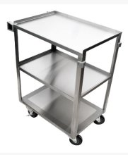"27.5"" 18 Gauge 304 Stainless Steel Welded Utility Cart - 16 3/4"" X 27 5/8"" X 33""  