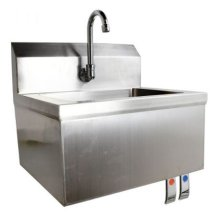 "Fabricated Hand Sink 15.25"" x 17"" x 13"" with  Knee Valve/Gooseneck and Drain Basket 