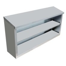 "Stainless Steel Open Wall Cabinet with Sloping Top 15"" X 48"" X 32"" 
