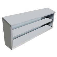 "Stainless Steel Open Wall Cabinet with Sloping Top 15"" X 60"" X 32.5"" 