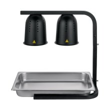 Black 2 Bulb Heat Lamp / Food Warmer with Pan - 500 Watts | Restaurant Equipment | Zanduco US