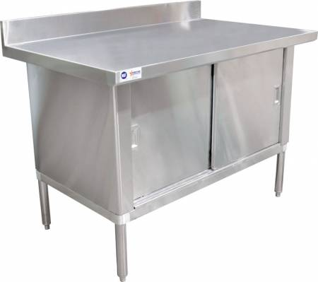 "Worktable Cabinet - 30"" x 48"" with 3"" Overhangs and 4"" Backsplash 