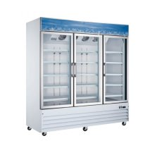 "Zanduco 78"" 3-Door Swing Glass Cooler - White 53 cu. ft. 