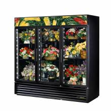 True GDM-72FC-HC~TSL01 Three Glass Swing Door Floral Case - 72 cu. ft. | Refrigeration Equipment | Zanduco CA