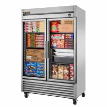 "True T-49FG-HC~FGD01 55"" Glass Door Reach In Freezer with LED Lighting 