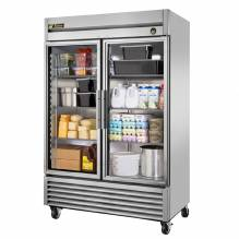 "True T-49G-HC~FGD01 55"" Glass Door Reach In Refrigerator with LED Lighting 
