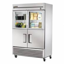 "True T-49-2-G-2 55"" Combination Half Door Reach In Refrigerator 