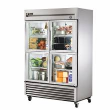 "True T-49G-4 54"" Two Section Glass Half Door Reach In Refrigerator 
