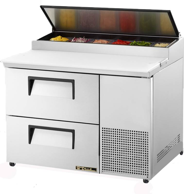True TPPD Two Drawer Refrigerated Pizza Prep Table Food - True refrigerated prep table