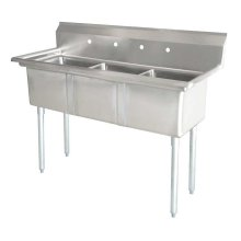 "Zanduco 24"" X 24"" X 14"" Three Tub Sink with 1.8"" Corner Drain and No Drain Board 