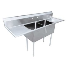 "Zanduco 24"" X 24"" X 14"" Two Tub Sink with Two Drain Board 