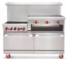 "American Range AR4B-12RG 36"" Heavy Duty Gas Range 26"" Oven with 4 Burners & 12"" Raised Griddle  