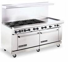 "American Range AR8B-24RG 72"" Heavy Duty Gas Range with 8 Burners & 24"" Raised Griddle 