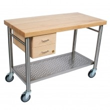 "Kitchen Cart - Cucina Magnifico 2-1/4"" Thick Hard Maple Top (Edge Grain)  CUCIC04 