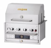 "Crown Verity 30"" Stainless Steel Built In Outdoor BBQ Grill / Charbroiler with Roll Dome Package Natural Gas CV-BI-30PKG-NG 