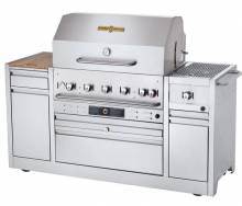 "Crown Verity Hotel Series 67 1/4"" Grill with Side Burner - 64,500 BTU Natural Gas CV-MBI-30I-NG 