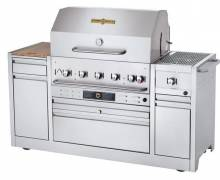 "Crown Verity Hotel Series 79 1/2"" Grill with Side Burner - 79,500 BTU Natural Gas CV-MBI-36I-NG 