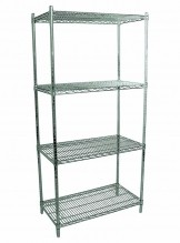 "Zanduco Heavy Duty Commercial Chrome Shelf Set 24"" X 36"" Shelves & 72"" Posts With Levelers 